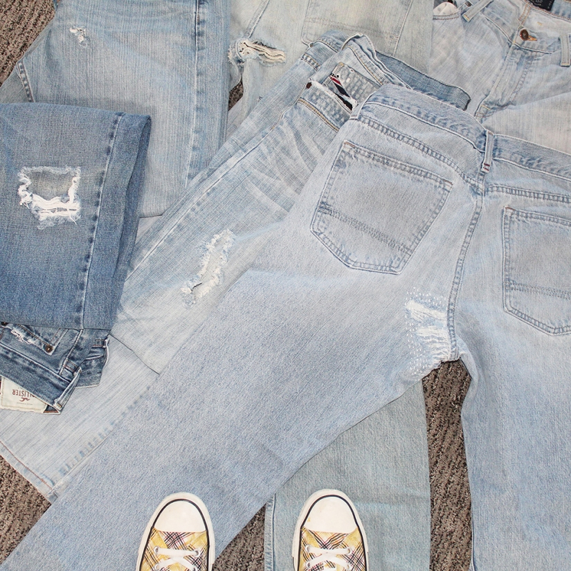 How to mend crotch of jeans